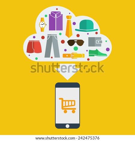 Vector mobile shopping man - stock vector