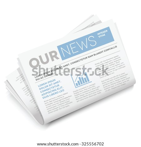 Vector mock up newspaper isolated on white background. - stock vector