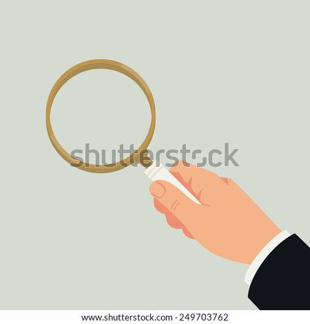 Vector modern abstract illustration on male hand with magnifying glass, isolated - stock vector