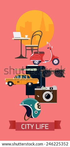 Vector modern abstract web banner on modern city and urban lifestyle for social media marketing design, presentation and promotion materials | Vertical visual with scooter, retro camera, taxi cab - stock vector