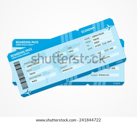 Vector Modern Airline boarding pass tickets isolated on white - stock vector