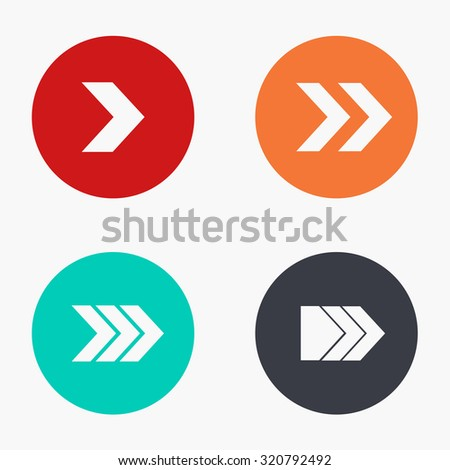 Vector modern arrow colorful icons set on white background - stock vector