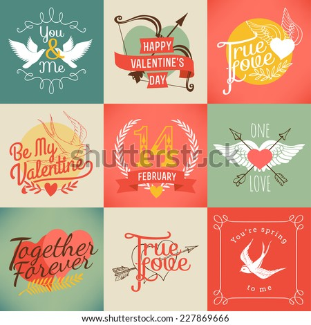 Vector modern badges and labels on valentines day | Set of nine love and relationship related design items - stock vector