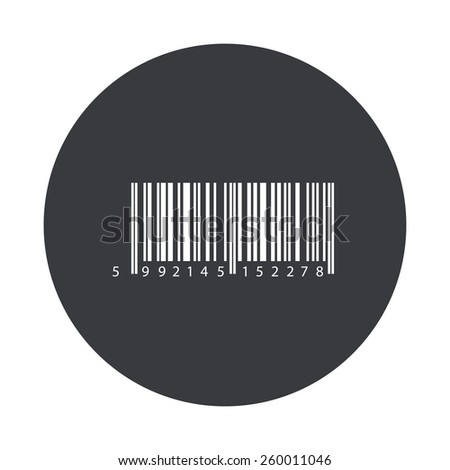 Vector modern bar code gray circle icon on white background - stock vector