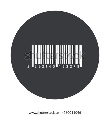 Vector modern bar code gray circle icon on white background - stock vector