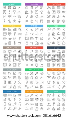 Vector modern big flat outline icons set on white background - stock vector