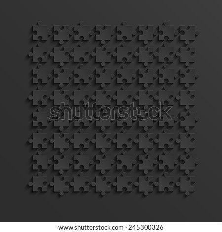 Vector modern black puzzle background. Eps 10 - stock vector