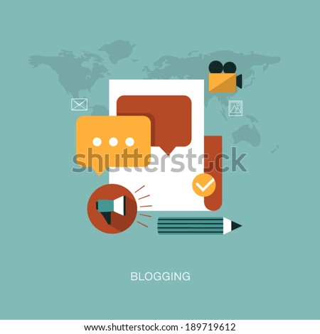vector modern blogging concept illustration - stock vector