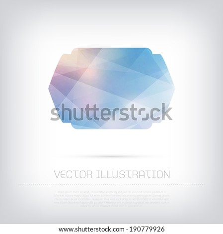 Vector modern blue banner / badge with colorful polygonal texture - stock vector
