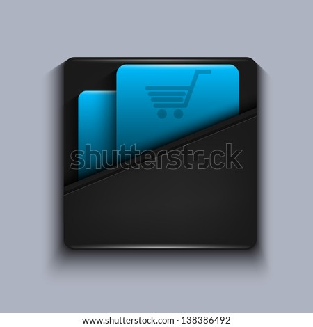 Vector modern blue icon on gray background. Eps10 - stock vector