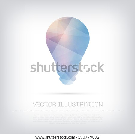 Vector modern blue light bulb icon with colorful polygonal texture - stock vector