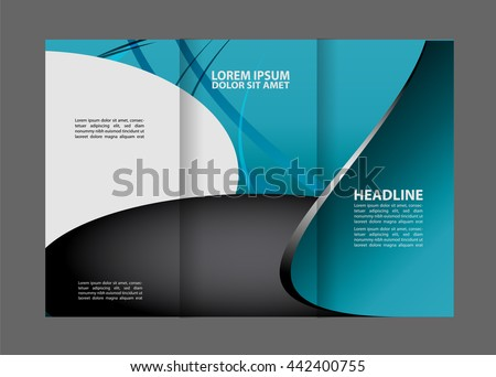 vector modern blue trifold brochure design stock vector royalty