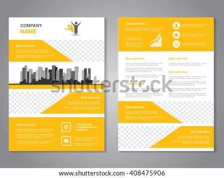 Vector modern brochure, abstract flyer with background of monochrome buildings. Layout template. Aspect Ratio for A4 size. Poster of yellow, grey, black and white color. Magazine cover.  - stock vector