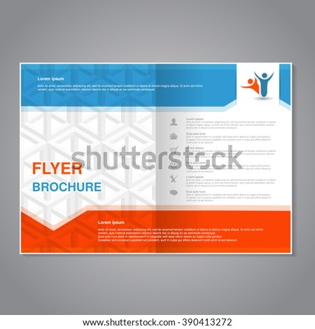 Vector modern brochure, abstract flyer with simple cube design. Layout template with arrow. Aspect Ratio for A4 size. Poster of blue, orange, grey and white color. Magazine cover.  - stock vector