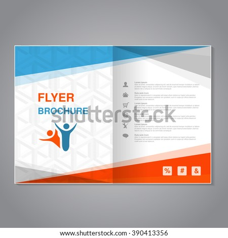 Vector modern brochure, abstract flyer with simple cube design. Layout template with triangles. Aspect Ratio for A4 size. Poster of blue, orange, grey and white color. Magazine cover.