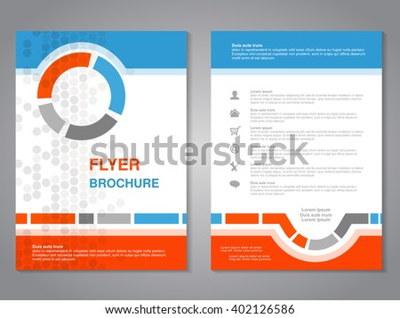 Vector modern brochure, abstract flyer with simple dotted design. Layout template. Aspect Ratio for A4 size. Poster of blue, orange, grey and white color. Magazine cover.