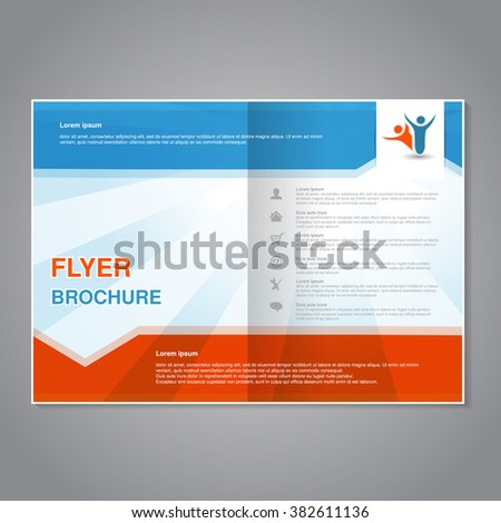 Vector modern brochure, abstract flyer with simple striped design. Aspect Ratio for A4 size. Poster of blue, white and orange color. Layout template, magazine cover. - stock vector