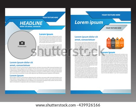 Vector modern Brochure blue design Layout template, size A4, Front page and back page, infographics
