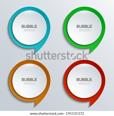 Vector modern bubble speech icons set. Business development. 4 colors - stock vector