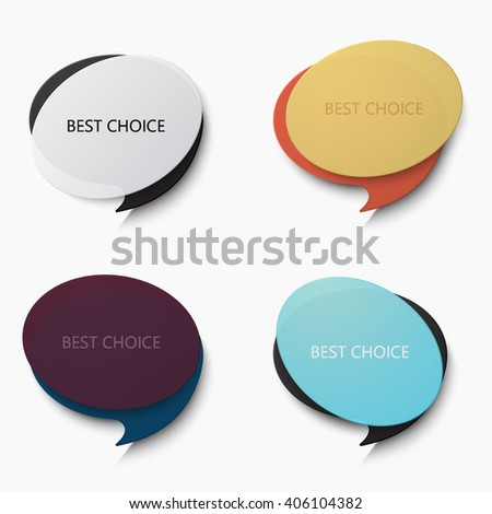 Vector modern bubble speech set on white background