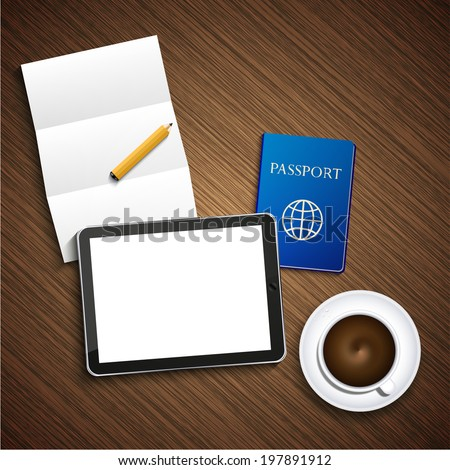 Vector modern business background. Computer tablet with coffee and passport and paper on wood - stock vector