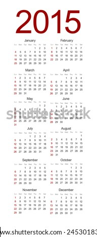 vector modern 2015 calendar on white background - stock vector