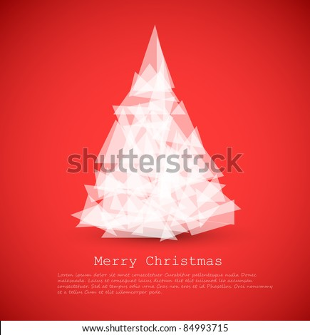 Vector modern card with abstract green christmas tree on a red background