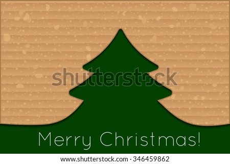Vector modern cardboard christmas tree background for your design - stock vector