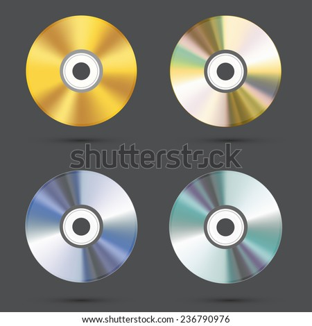 vector modern cd icons set on gray background. Eps10 - stock vector