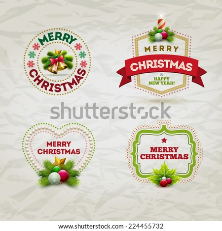 Vector modern Christmas and new year invitation design template. Elements are layered separately in vector file. - stock vector