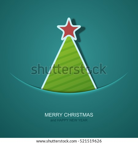 Vector modern christmas tree background. Invitation of xmas or happy new year