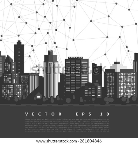 Vector modern city. Cityscape background for your design, urban art. Buildings - stock vector