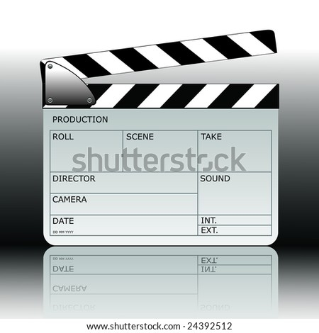 Vector modern clapperboard with whiteboard.