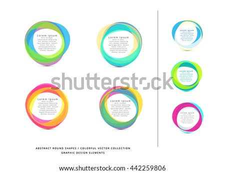 VECTOR MODERN COLORFUL CIRCLE FRAME ELEMENTS - stock vector