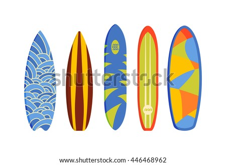 Vector modern colorful surfing boards set on white background