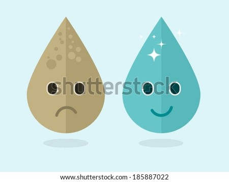 vector modern concept illustration of dirty and clean water drops - stock vector