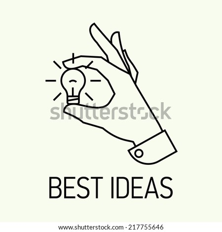 Vector modern creative concept business illustration on picking best ideas | Best business and industry ideas and solutions flat line design icon | Hand holding hand picked idea icon - stock vector