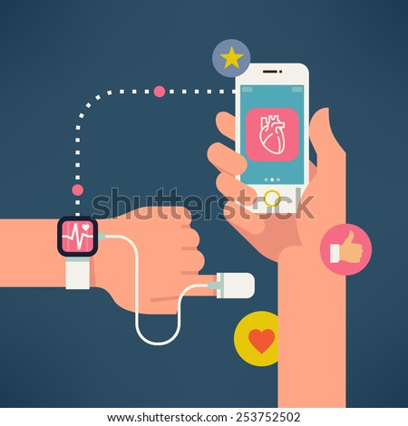 Vector modern creative concept design on modern high technology using in everyday life showing man tracking his health condition with special devices and mobile applications | Fitness wrist bracelet - stock vector