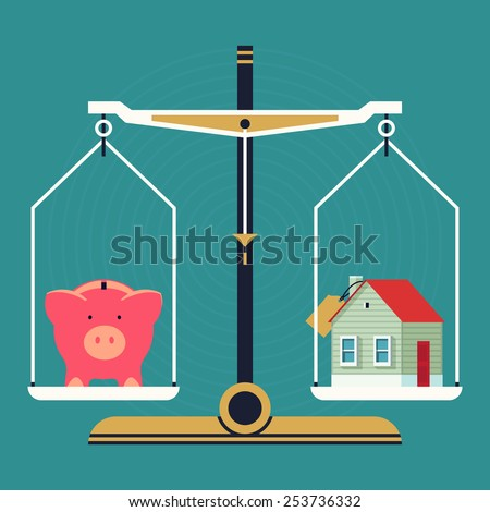 Vector modern creative flat concept design on residential property pricing and cost analyzing | Real estate investment costs and budget consumption with scales, piggy bank and house icons - stock vector