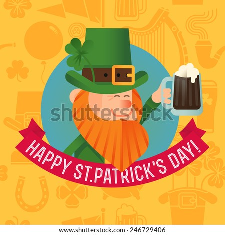 Vector modern creative flat design illustration for St. Patrick's Day celebration greeting postcard, web banner, wall decoration poster or social media marketing design with cheering leprechaun - stock vector