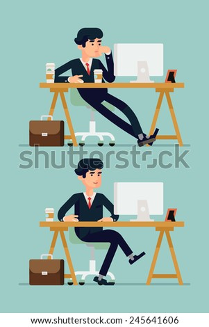 Vector modern creative flat design illustration on businessman at work | Bored office worker procrastinating behind his desk and confident worker on duty managing daily tasks - stock vector
