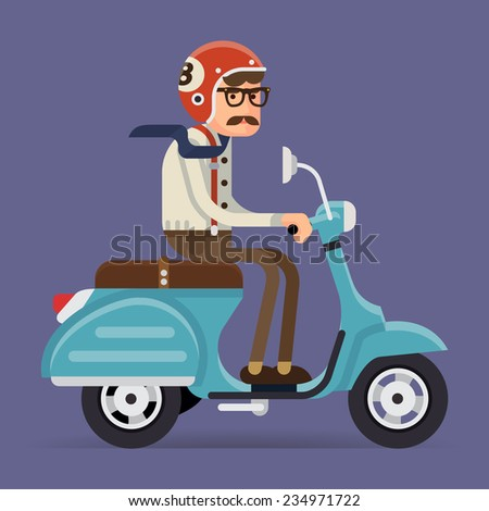 Vector modern creative flat design illustration on man with mustache and glasses wearing tie and suspenders riding retro scooter | Man in helmet riding vintage looking moped, side view - stock vector