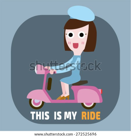 Vector modern creative flat design illustration. woman with mustache  wearing tie and  riding retro scooter |  hipster man riding retro scooter. characters riding fast retro scooter.  side view   - stock vector