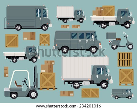 Vector modern creative flat design logistics fleet vehicles set featuring cargo trucks and vans, delivery scooter, forklift, cardboard and wooden boxes and containers - stock vector