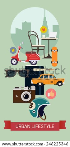 Vector modern creative web banner on modern city and urban lifestyle for social media marketing design, presentation and promotion materials | Vertical visual with sunglasses, retro camera, taxi cab - stock vector