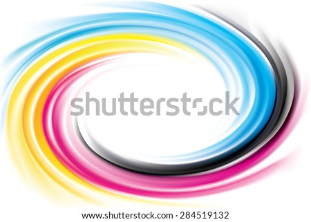 Vector modern creative wonderful eddy aqua backdrop pattern of vivid primary dye gamma full-colour printout technology process glossy curvy spraying ripple disk. Closeup view with space for text - stock vector