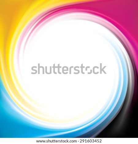 Vector modern creative wonderful eddy aqua backdrop pattern of vivid primary dye gamma full-colour printout technology process glossy curvy spraying ripple disk with space for text in big white center - stock vector