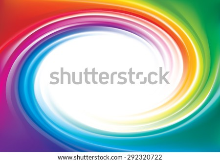 Vector modern creative wonderful eddy futuristic festival happy aqua backdrop of vivid multi colored glossy curled striped spraying ripple sphere. Closeup view with space for text in middle of funnel - stock vector