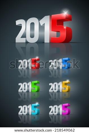 Vector modern 3d 2015 year set.  - stock vector