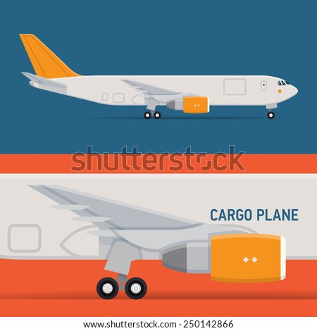 Vector modern delivery transport web icon on standing commercial freight cargo jet airliner plane, flat design, side view, isolated  - stock vector